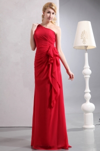 Red One Shoulder Chiffon Ruch Bridesmaid Dresses
