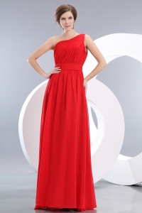 Red One Shoulder Empire Chiffon Ruch Bridesmaid Dresses