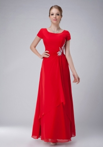 Chiffon Red Appliques Mother Of Bride Dress Scoop