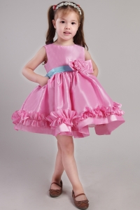 Flower Girl Dress Rose Pink Scoop Knee-length Taffeta
