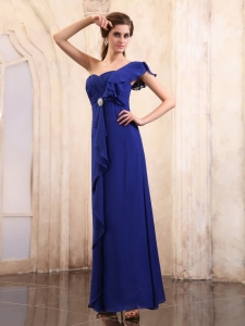 Royal Blue Prom Dress One Shoulder Ankle-length