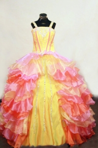 Multi-colored Ruffles Straps Beaded Little Girl Pageant Dress