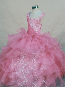 Rose Pink Organza Scoop Appliques Glitz Pageant Dress
