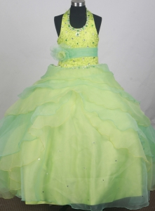 two-toned Green Halter Flower Girl Pageant Dress