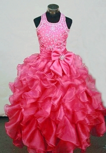 Halter Beaded Girl Pageant Dresses Hot Pink Ruffles