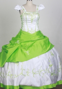 White and Spring Green Flower Girl Pageant Dress Square