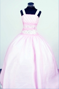 Straps Baby Pink LIL Girl Pageant Dresses Taffeta Beaded