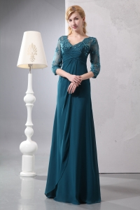 V-neck Sleeves Turquoise Lace Mother of the Bride Dress