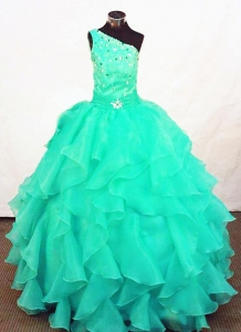 Turquoise Beaded One Shoulder LIL Girl Pageant Dresses