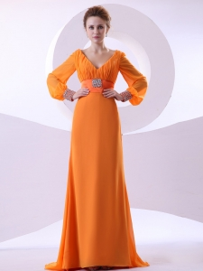 Prom Dress V-neck Long Sleeves Orange Brush Train