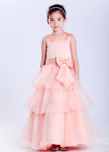 Watermelon Red Flower Girl Dress Scoop Ankle-length