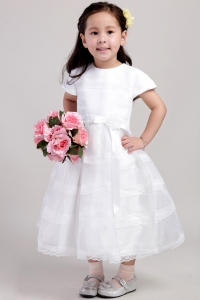 Scoop Tea-length Lace Hand Made Flower Flower Girl Dress