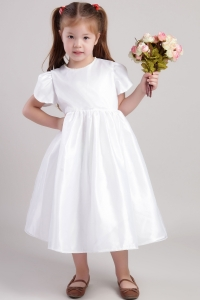 White Scoop Tea-length Taffeta Flower Girl Dress