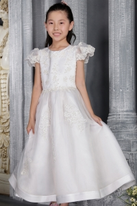 Flower Girl Dress White Scoop Ankle-length Organza Lace
