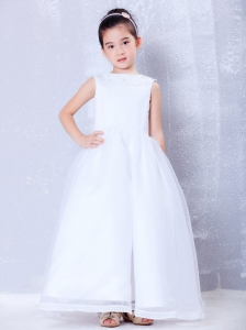 White Bateau Ankle-length Beading Flower Girl Dress