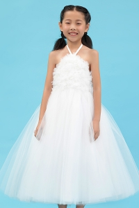 Spaghetti Halter Little Flower Girl Dress Tulle Appliques