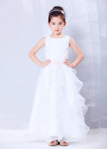 White Scoop Ankle-length Organza Beading Flower Girl Dress