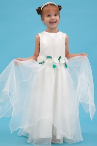 Organza Hand Made Flowers Scoop Little Flower Girl Dress
