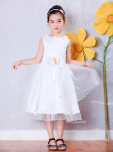 Organza Hand Made Flowers Little Girl Pageant Dress