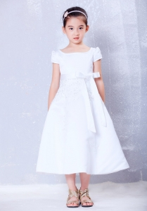 Flower Girl Dress White Scoop Tea-length Beading Bow