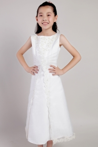 White Flower Girl Dress Scoop Tea-length Taffeta and Appliques