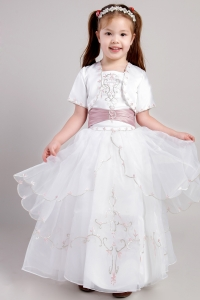 Square Ankle-length Embroidery Flower Girl Dress