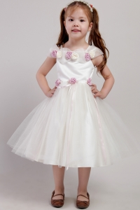 Flowers Little Girl Dress White Square Tea-length Tulle Handle Made