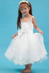 Spaghetti Straps Flower Girl Dress Appliques Bow Sash