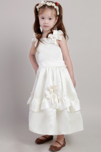 Flower Girl Dress White Straps Ankle-length Taffeta Bow