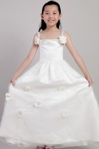 DIscount White Straps Ankle-length Flower Girl Dress