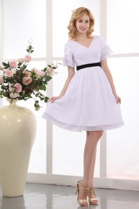 White V-neck Mini-length Chiffon Ruch Bridesmaid dresses
