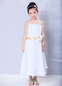 Chiffon Straps Flower Girl Dress Hand Made Flower