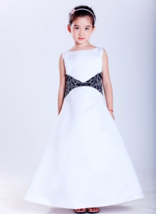White and Black Flower Girl Dress Scoop Ankle-length Embroidery
