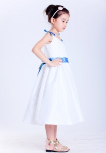 Flower Girl Dress White and Blue V-neck Tea-length Bows