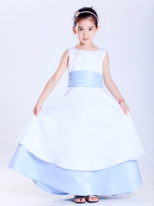 White and Light Blue Flower Girl Dress Scoop Ankle-length Sash