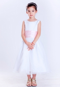 White and Pink Scoop Tea-length Girl Pageant Dress Flowers