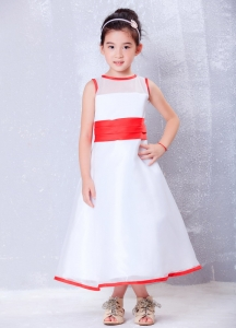 White and Red Little Flower Girl Dress Organza