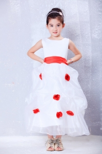 White and Red Scoop Ankle-length Flower Girl Dress