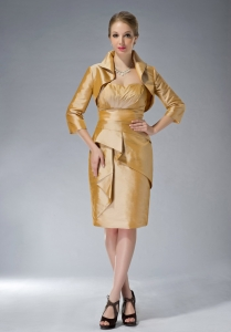 Sweetheart Mother Of The Bride Dress Yellow Taffeta Ruch