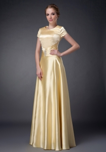 Beaded Yellow Mother Of The Bride Dress Scoop