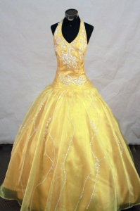 Appliques Halter Yellow Little Girl Pageant Dresses