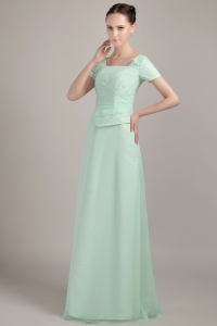 Green Empire Square Beading Mother Of The Bride Dress
