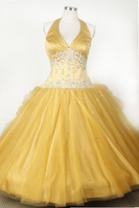 Gold Halter Little Girl Pageant Dress Appliques and Beading