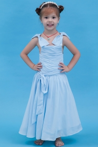 A-line Straps Flower Girl Dress Baby Blue Ankle-length