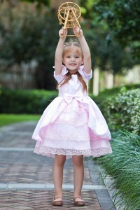 Baby Pink Flower Girl Dress A-line Scoop Taffeta