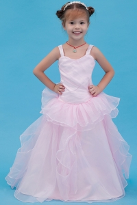 Baby Pink Flower Girl Dress A-line Straps Floor-length