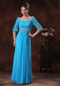 Beaded Square Blue Mother Of The Bride Dress