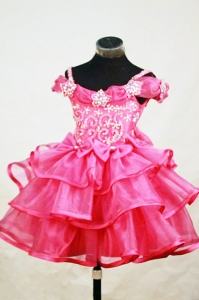 Beading Little Girl Pageant Dresses Red Appliques