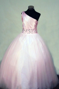 Perfect Little Girl Pageant Dresses Ball gown Tulle Pink