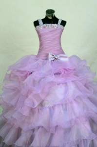 Lavender Little Girl Pageant Dress Beading Organza Straps